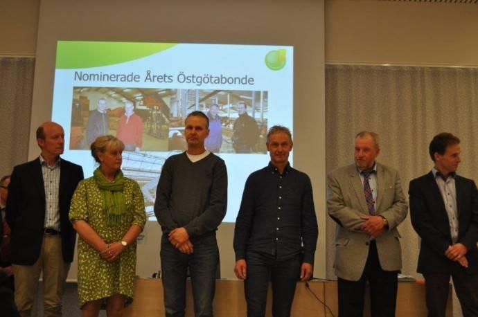 """De nominerade till """"Årets Östgötabonde 2015"""" Fr v Göran och Carola Ektander, Mats och Per Johansson och Anders och Christer Eskilsson"""